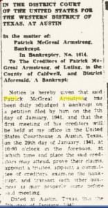 ARMSTRONG -FATHERS BANKRUPTCY LULING
