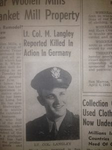 LANGLEY - NOTICE OF DEATH PART ONE SAN MARCOS RECORD 1945